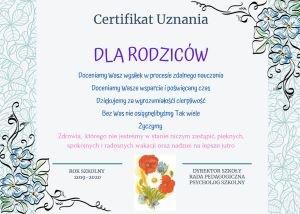 Certyfikat Uznania dla Rodziców